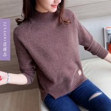 半高领套头毛衣女短款秋冬新品纯色打底衫长袖宽松下摆开叉针织衫