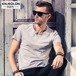 英爵伦 男士短袖T恤 男夏装半袖 体恤修身衣服纯色潮牌打底衫上衣T恤