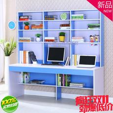 现货包邮双人电脑桌书架组合简约书柜家用台式儿童写字台书桌特价