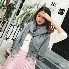 围巾女冬季韩版百搭加厚长仿羊绒学生保暖韩国毛线针织围脖披肩男