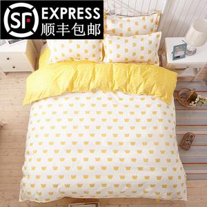 韩式学生宿舍三件套单人床单1.5/1.8/2.0/1.2m被套卡通床上四件套三件套床单