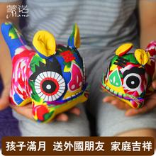 小礼品摆件中国特色礼品送老外 纯手工布老虎 中国风民间手工艺品