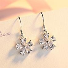 银唯源新款个性甜美淑女花朵925银耳环女气质简约小清新耳饰品