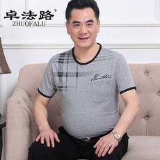 中老年男装短袖爸爸夏装圆领大码短袖T老年人宽松条纹短袖男T恤衫