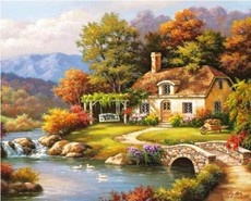 DIY数字油画包邮欧式田园风景手绘油彩填色油画花卉手工客厅装饰