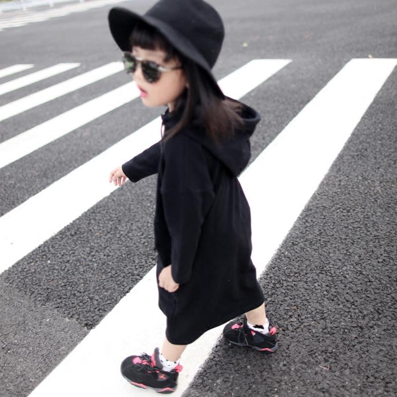 原创自制 2016 男女童长款连帽长卫衣裙女童装连衣裙帽衫超级软女童外套