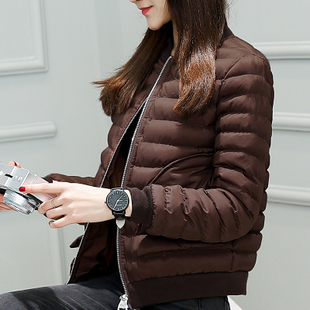 黑色短款棉服女2016新款潮修身立领冬装棉衣韩版显瘦薄款棉袄外套