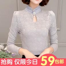 蕾丝打底衫女长袖2016春秋冬装新款小衫修身大码立领上衣加绒加厚