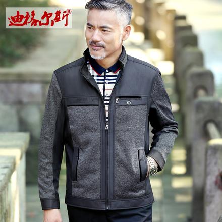 2018新款春季薄款中老年男士夹克中年爸爸装外套休闲立领40-50岁