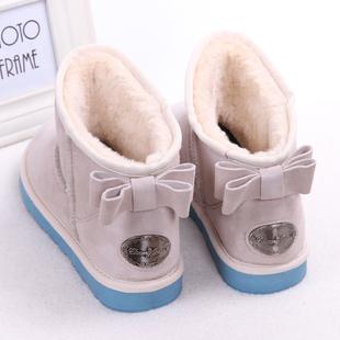 雪地靴女冬季短筒蝴蝶结韩版可爱平底防滑保暖棉鞋潮学生短靴