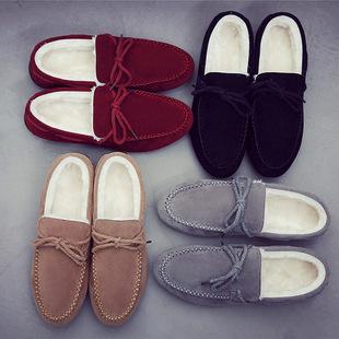 冬季新款潮流行男鞋学生保暖男士棉鞋韩版豆豆鞋加绒驾车鞋男鞋子