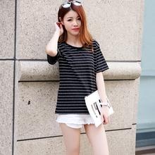 黑白横条纹T恤女 韩版短袖宽松上衣百搭学生新款纯棉半袖夏季体恤