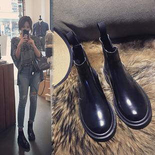 欧美女鞋秋冬平底单靴子2017春季厚底女靴机车马丁靴女英伦短靴潮