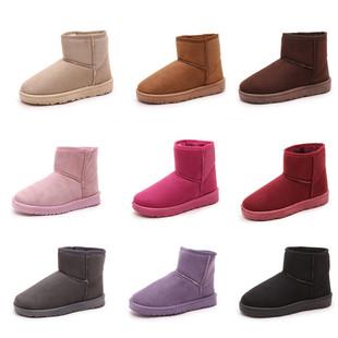 2016冬季新款女雪地靴纯色休闲短靴加绒保暖防滑女棉鞋圆头坡跟鞋