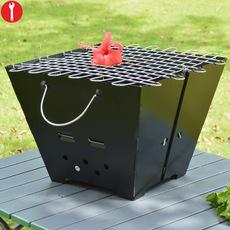 迪拓可折叠烧烤炉子 户外野营烧烤架子烤肉BBQ工具方形款包邮A501