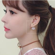 韩国七彩玻璃球水钻流沙耳钉女双面前后耳环配饰品东大门代购耳饰