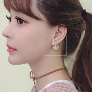 韩国七彩玻璃球水钻流沙耳钉女双面前后耳环配饰品东大门代购耳饰耳环