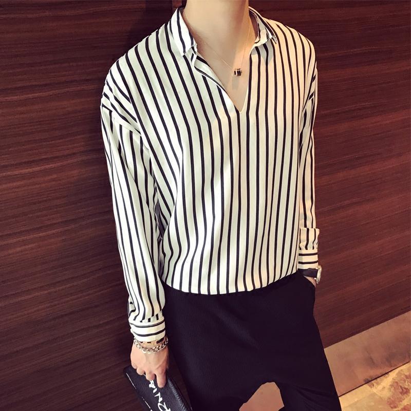 秋季条纹长袖衬衫男韩版V领套头bf风休闲宽松衬衣潮流帅气发型师衬衫长袖