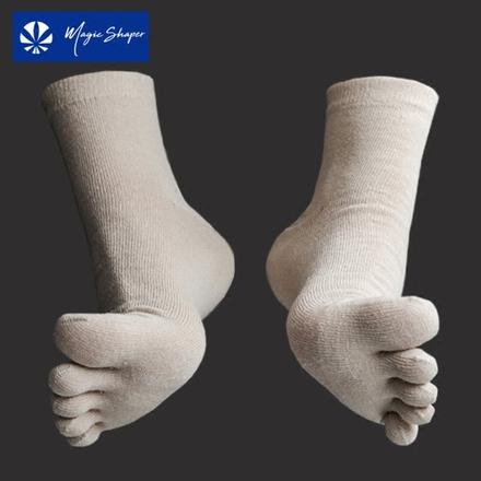 摩形汉麻女袜子简约抑菌透气防臭脚痒舒适防滑纯色五指袜三双装