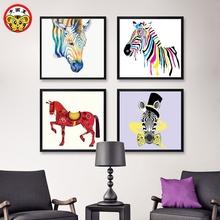 饰画儿童动物创意马 家居礼品手绘简单填色diy数字油画厕所客厅装