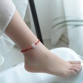 开光脚链女红绳脚链男 本命年情侣脚链一对手工编织学生性感简约