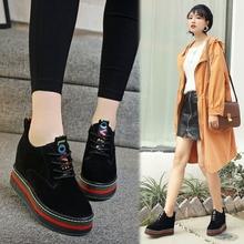 秋冬季鞋子女2017新款百搭韩版内增高棉鞋黑色女士厚底松糕休闲鞋