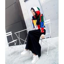 鱼余2018春装新款韩版彩色拼色卫衣女装时尚套装连衣裙两件套显瘦