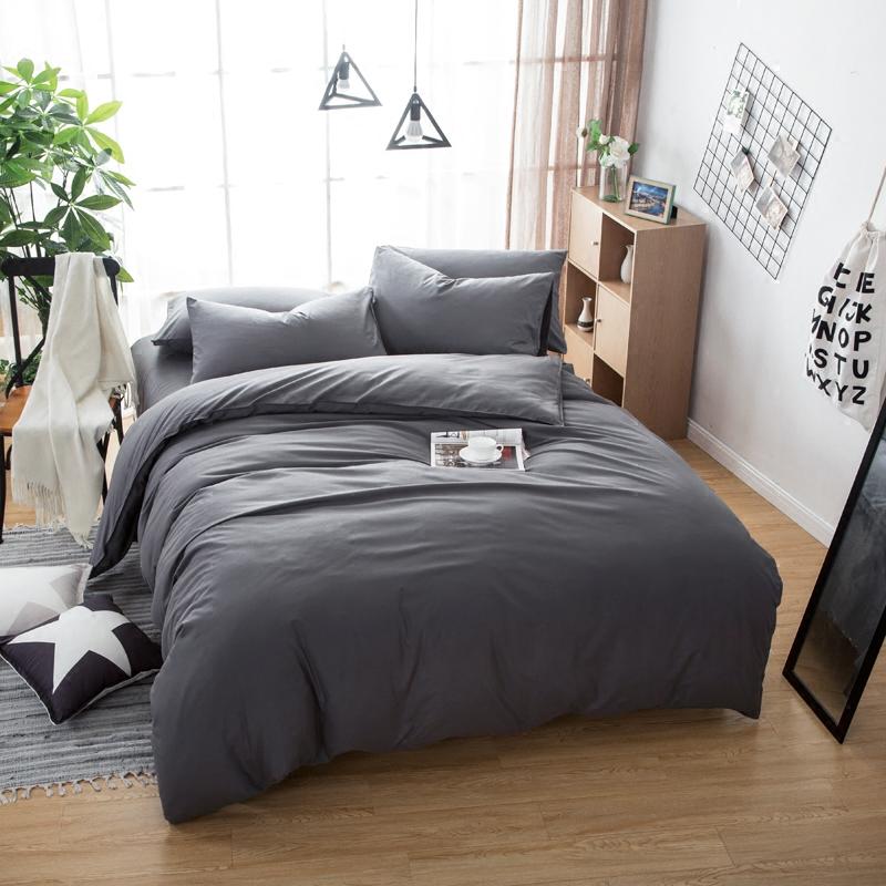简约纯色全棉磨毛四件套 纯棉床单被套件三件套1.5米1.8m床上用品床品四件套