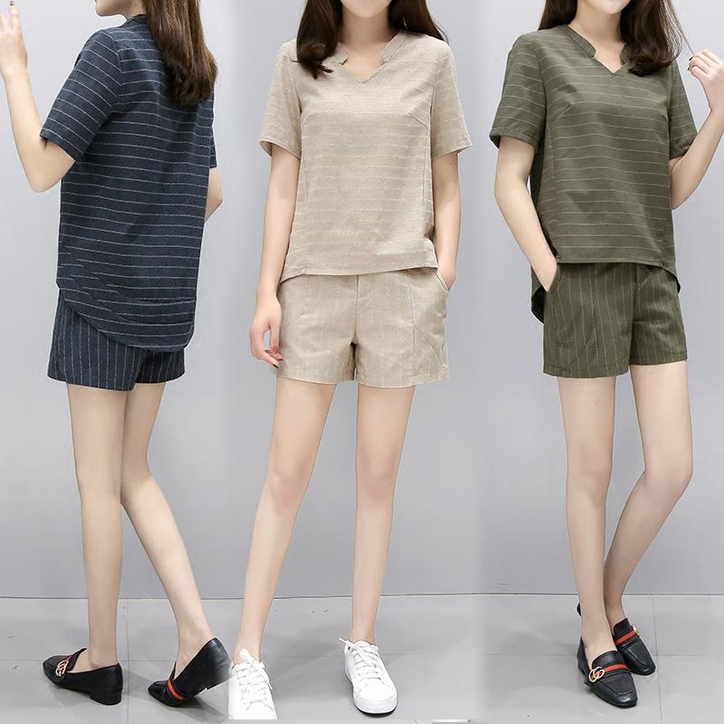 2017新款棉麻套装夏季短裤女时尚亚麻两件套韩版休闲气质大码女装