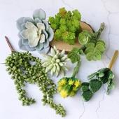 绿色植物墙假花塑料花家居客厅装 仿真多肉植物懒人套餐 饰品摆件
