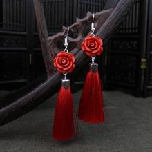 原创小清新甜美流苏耳环复古玫瑰花耳坠短款精致气质花朵款耳饰女