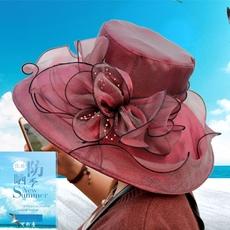 帽子女夏天韩版欧根纱花朵遮阳帽防晒太阳帽大沿网纱沙滩礼帽布帽