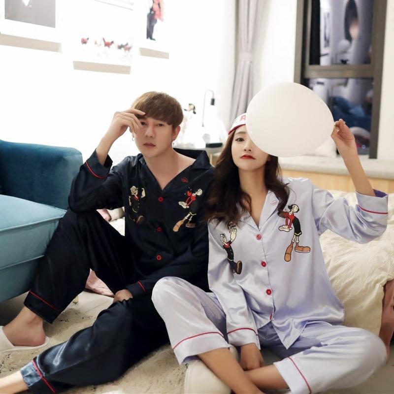 大力水手丝绸卡通情侣睡衣秋季韩版可爱家居服男女款长袖衬衫套装连体睡衣