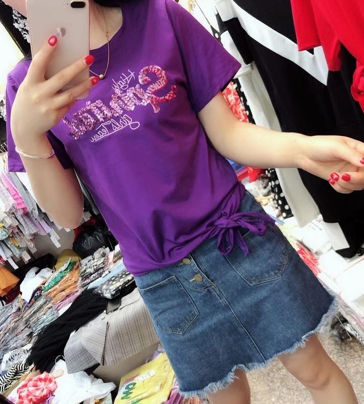 2018夏装新品字母亮片短袖T恤韩版宽松显瘦体恤百搭系带上衣 女潮图片