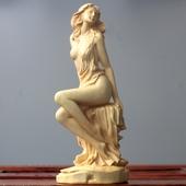 黄杨木雕守臼职鸭雕刻工艺品中式家居饰品美女人物客厅摆件女神