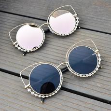 天天特价手工镶钻太阳镜反光女猫眼复古圆脸明星款大框墨镜潮眼镜