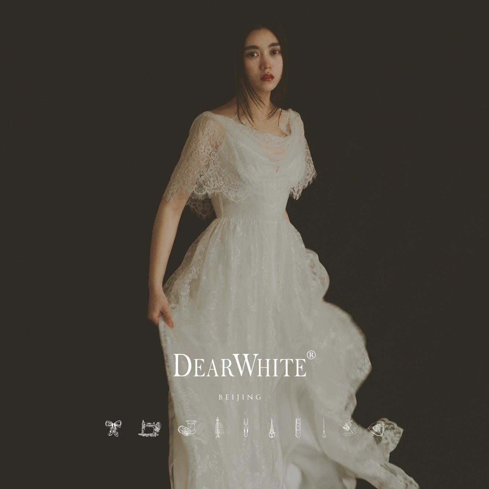 亲爱的白原创正品《夏鸟》简约森系草坪复古蕾丝礼服旅拍轻婚纱婚纱