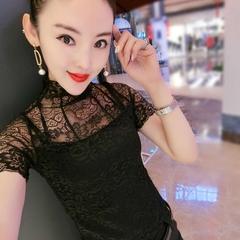 欧洲站2019春季新款女装韩版T恤女修身性感镂空蕾丝短袖打底上衣