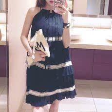 韩国代购东大门2016夏新款吊带背心连衣裙雪纺系带裙子气质纯色女