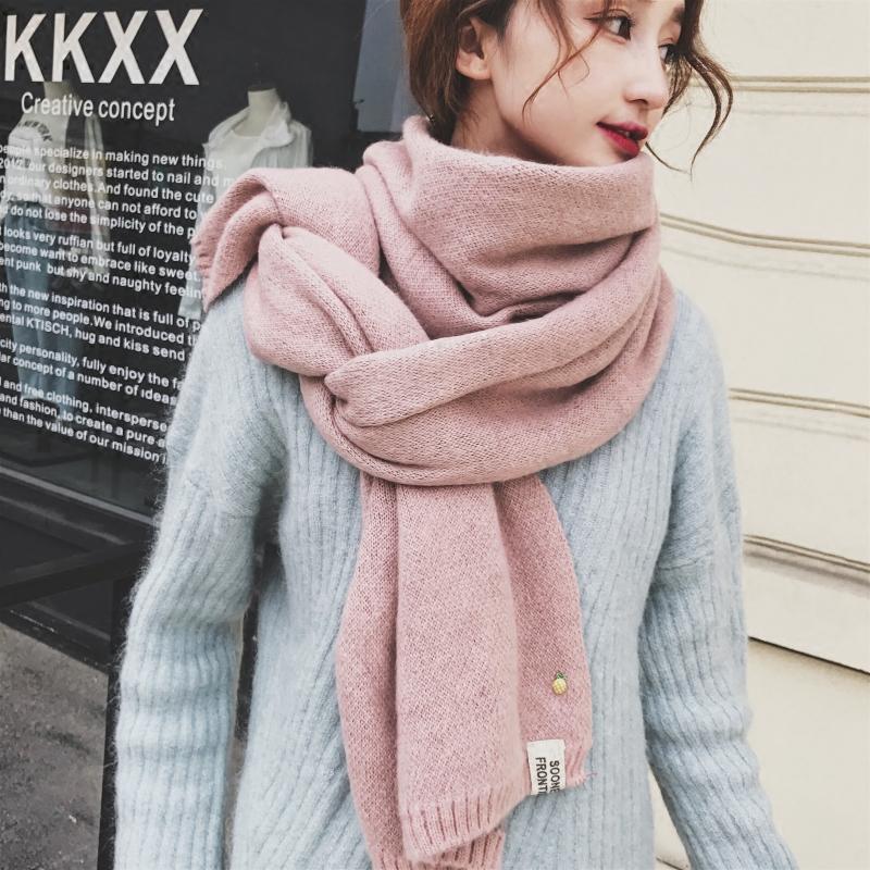 菠萝围巾女冬季韩版百搭学生长款加厚日系软妹小清新针织毛线围脖女士围巾