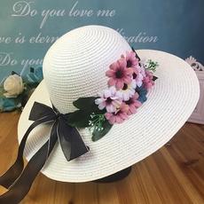 小花朵大沿草帽女夏小清新沙滩帽英伦夏天出游遮阳百搭旅游帽子女