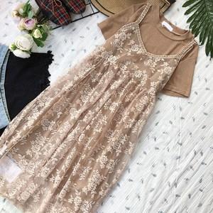 2018夏季<span class=H>甜美</span>学院风小清新短袖T恤+中长款<span class=H>蕾丝</span>吊带裙两件套连衣裙