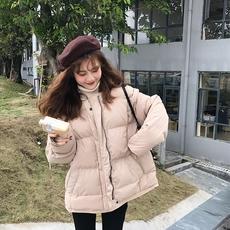 乌77 韩国 百搭款蝙蝠袖面包服棉衣圆领大码宽松纯色棉服外套
