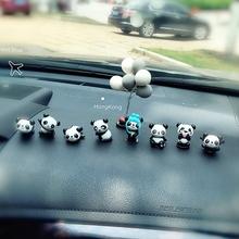新车迷你小熊猫摆设女 饰用品 池诳砂汽车摆件 车载中控台卡通装