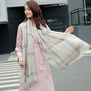 韩版新款春秋冬季保暖纯棉格子围巾潮长款棉麻纱巾女披肩两用薄款