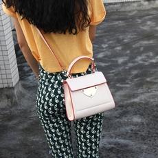 2016独家新款斜挎包女包撞色马鞍包简约欧美时尚手提包包 迷你包