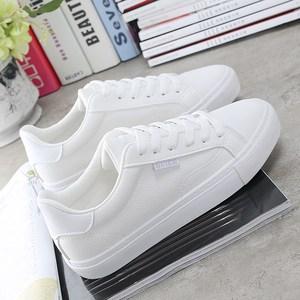 秋季新款皮面时尚小白鞋女款学生平底系带韩版休闲运动板鞋