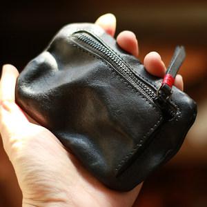 阿美咔叽复古植鞣皮钱包女2018新款做旧小零钱包真皮拉链男士卡包