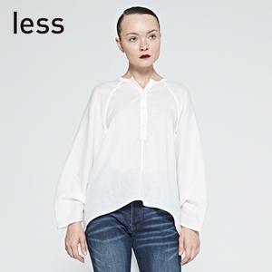 less春夏款时尚宽松长袖衬衫女前段后长苎麻衬衣薄款舒适27514021