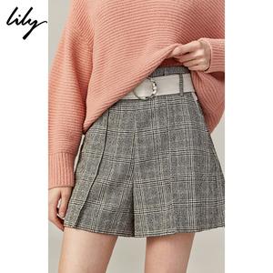 Lily2019秋新款<span class=H>女装</span>时尚格子拼接通勤设计感直筒短裤<span class=H>休闲裤</span>女5909